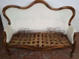 Divano noce massello restauro Sant'Arsenio Salerno vallo di Diano
